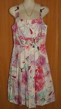 NEW/TAGS Stretch Cotton Floral, Lined, Rosette Trim, Pleated Skirt Dress Size 8