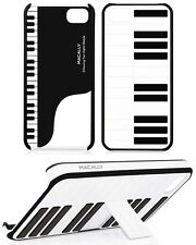 MACALLY PIANO JAZZ CASE BLACK WHITE HARD COVER WITH STAND FOR APPLE iPHONE 5 5s