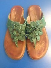 Born Women's Sandals Teal Green With Large Leather Flowers Size 9