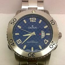 "Mens Croton Watch 8 1/2"" Band Checkered Blue Dial Stainless Steel Date Watch NEW"