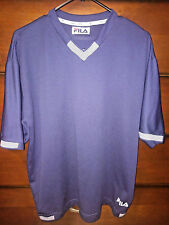 FILA Made in Italy Men's sz Large Soccer Style Jersey V Neck Shirt Vintage Navy