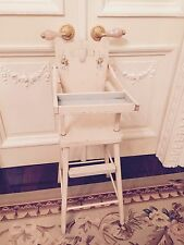 "ANTIQUE VINTAGE DOLL WOOD HIGH CHAIR, PAINTED ACCENTS 32"" TALL ...... WONDERFUL"