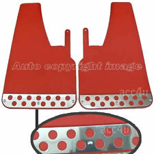Universal Urban X Red With Chrome Plate Rally Look Car Mud Flap Flaps Set Pair