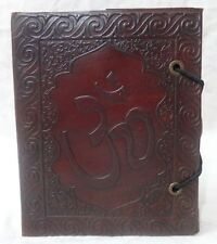 19 Genuine Leather Handmade Blank Paper Notebook Travel Pocket Diary Om Embossed