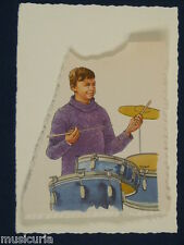 ak~ handmade greetings / birthday card 60S DRUMMER ILLUSTRATION