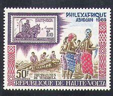 Upper Volta 1969 Dancers/Music/S-on-S/Stamp-on-Stamp/Horse/StampEx 1v (n37548)