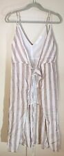ASTR The Label Linen Stripe Wrap Dress Brown/White Size Small -  MSRP $72