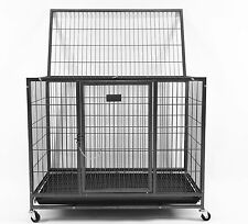 "New Homey Pet 37"" Heavy Duty Metal Dog Pet Crate Cage Kennel w/ Castor & Tray"