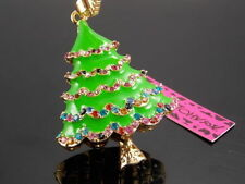 Betsey Johnson sparkling crystal Christmas tree pendant necklace # F278A