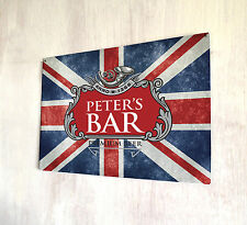 Personalised Union Jack Beer label sign A4 metal plaque decor picture