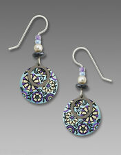 Adajio Soft Blue & Lavender Retro Floral Disc EARRINGS Hematite Circle - Boxed