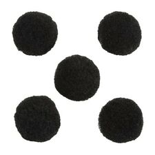 Wool Pom Pom Round Black Ball Beads 20mm Pack of 5 (C12/3)