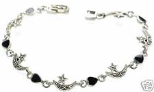 "Solid 925 Sterling Silver Marcasite & Black Onyx Moon Star Bracelet 7"" L '"