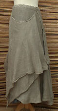 ZUZA BART*DESIGN BEAUTIFUL LAYERING QUIRKY 100% PURE LINEN SKIRT*BEIGE*Size L-XL