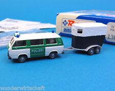 Roco H0 1384 Set VW T3 POLIZEI BUS mit PFERDE-ANHÄNGER Bulli HO 1:87 Volkswagen