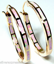 Pink Fire Opal Inlay Rose Gold over 925 Sterling Silver Hoop Earrings 1-1/4''