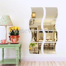 6Pcs 3D Square Wave Shape Mirror Wall Sticker Decor Decal Mural Home Room DIY