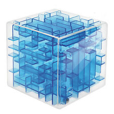 Transparent Blue 3D Intellect Puzzle Cube Balance Maze Game For Child Brain Hand