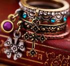 Set di 4 stile vintage bronzo fedina anelli con cristallo