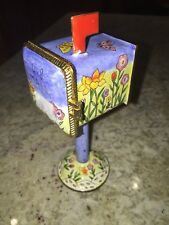 Footed  Stamp Holder Enameled US MAIL Box Holds Roll Stamps Comes Out side