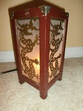 Vintage  Metal Dragon Asian Oriental Wood & Glass Bedside Table Night Light
