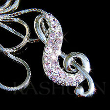 Purple w Swarovski Crystal TREBLE CLEF Musical MUSIC NOTE Pendant Chain Necklace