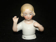 ANTIQUE VICTORIAN GERMAN PORCELAIN PIN CUSHION HALF DOLL BLONDE YOUNG GIRL