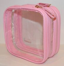 VICTORIA'S SECRET DOUBLE ZIPPER PINK CLEAR MAKEUP COSMETIC BAG TRAVEL ORGANIZER