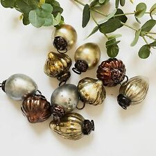10 Mini Gold Silver Copper Glass Baubles, Vintage Kugel Style Xmas Decorations