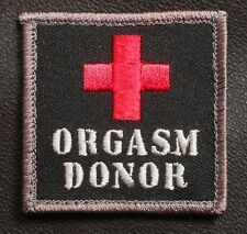 ORGASM DONOR USA ARMY COMBAT BADGE BLACK OPS SWAT VELCRO® BRAND FASTENER PATCH