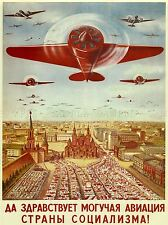 POLITICAL MILITARY PROPAGANDA SOVIET UNION AIRFORCE COMMUNIST POSTER 1802PYLV