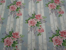 Sanderson Curtain Fabric 'Cecile Rose' 2.4 METRES Duck Egg/Rose - Linen Blend