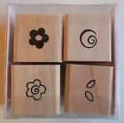 Set of 4 Flowers & Leaves Rubber Stamps - Wood Mounted