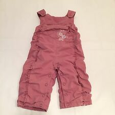 M&S rosewood pink ruffled & floral dungarees 3-6 Months baby girls Clothes