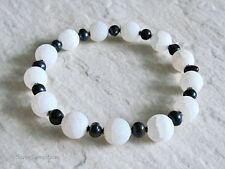 White Frosted Agate, Black Freshwater Pearls & Sterling Silver Stretch Bracelet