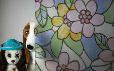 """Stained Glass Colored Flowers Static Cling Window Film, 36"""" Wide x 50 ft"""