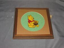 "g2 Winnie The Pooh Counted Cross Stitch Finished 9"" Square Frame 7"" Round Mat"