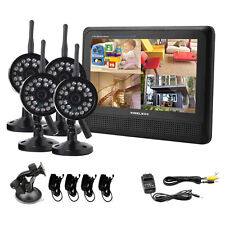 "7""LCD Monitor 4CH Digital Wireless Home Security DVR System 4xIR Camera W/O 1TB"