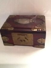Vintage Antique Wood And Brass Chinese Small Jewelry Box Ches