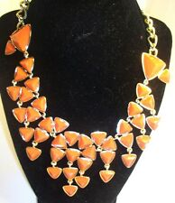 "Brand name gold tone necklace 14-18"" orange arrow head pattern choker elegant !"