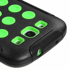 For Samsung Galaxy S III 3 Rubber IMPACT DOTS TUFF HYBRID Case Cover Black Green