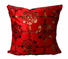 CUSHION COVERS LARGE SET OF 4 DAMASK VELOUR FAUX FUR  RED GOLD 20x20""