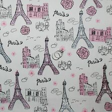 BonEful FABRIC FQ Cotton Quilt PINK B&W Gray Paris City Eiffel Tower Rose Flower