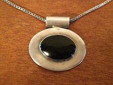 Likely Vintage Sterling Silver Onyx Pendant Necklace