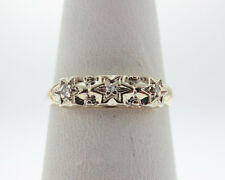 Genuine Diamonds Solid 14k 2-Tone Gold Ring STARS Band FREE Sizing
