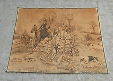 Large vintage français belle scène de chasse tapisserie 165x126cm (A602)
