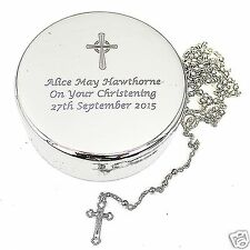 Personalised Cross Rosary Box & Beads Holy Communion Christening Confirmation