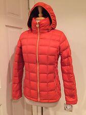 NWT Michael Kors Ultra Lightweight Jacket Puffer Hood Packable Down Orange S