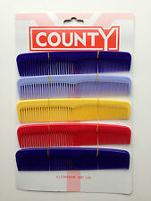 County 7 inch dressing combs assorted colours - 1 card - 10 on a card