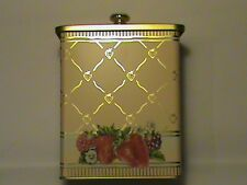 Strawberry Gold collectible metal tin can cookie jar box storage container w lid